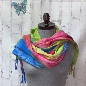 Tie Dyed Rainbow 100% Rayon Challis Head Scarf